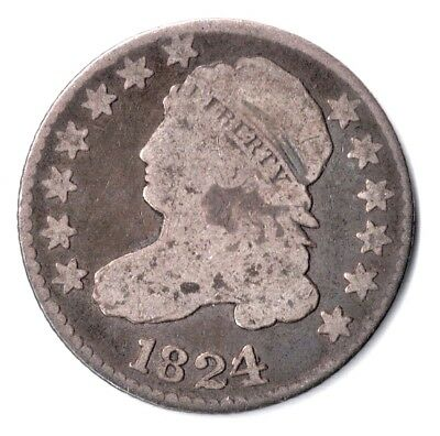 ⭐️Very Rare 1824/2 Us Capped Bust Dime Vg Condition