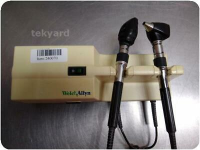 Welch Allyn 767 Series Wall Transformer Otoscope Ophthalmoscope W/ Heads ! 24007