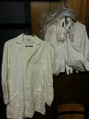 Authentic REAL Antique STRAIGHT JACKET and Doctors Lab Coat Insane Asylum 1940'S