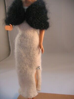 "Hand Knit White Long Dress Formal  Black cape Doll Clothes fis 11.5"" as Barbie"