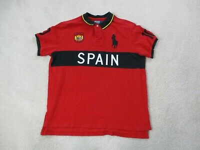 Ralph Lauren Polo Spain Shirt Adult Extra Large Red Black Spain Big Pony Mens A9