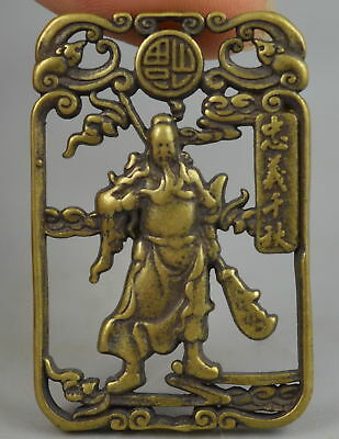 Exquisite Collectible Copper Carve Chinese Ancient Guan Yu Pendant