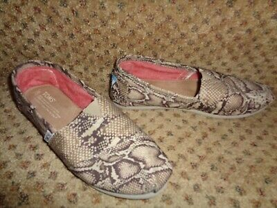 Toms Classic One For One Tan Browns Snakeskin Pattern Canvas Slip-On Shoes--7