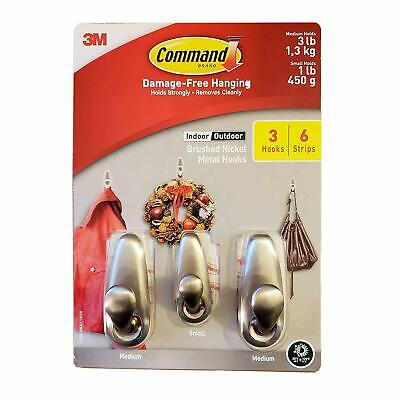 3M Command Brushed Nickel Metal Hooks 3 Hooks 6 Strips 1 Small 2 Medium NEW