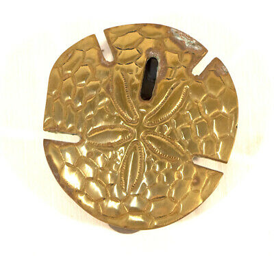 Vintage Door Knocker Sand Dollar Solid Brass 1979 Beach House Nautical Decor