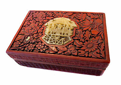 CINNABAR And JADE Lacquer ANTIQUE BOX Chinese
