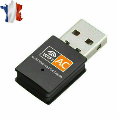 600Mbps USB Clé WiFi Dongle Adaptateur Double Bande 2.4GHz 5GHz PC Network LAN