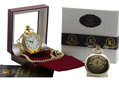 The Beatles Sgt Pepper Gold Pocket Watch Luxury Gift Boxed 24k Plated Sergeant