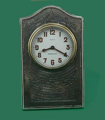 Vintage 1900's Tiffany & Co. 8 days Antique Sterling Silver Desk Clock