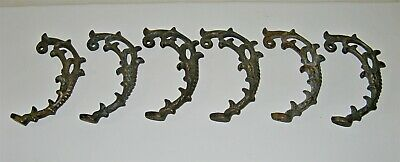 6 VINTAGE CAST BRONZE ORNATE DRAPERY TIEBACKS 3 Pairs French Country Decor