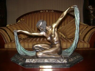 Vintage Egyptian Goddess ISIS (Aset) Metal Bronze Sculpture / Statue by: Colinet