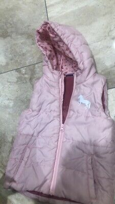 Lupilu Girls Gilet Kids Baby Pink Hooded Body Warmer Jacket Unicorn Age UK 5-6