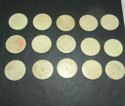 15 x ANTIQUE  BONE GAMING COUNTERS; ALSO USEFUL  FOR INLAY REPAIRS ETC 32 X 2 MM