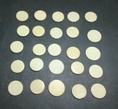 25 x ANTIQUE BONE GAMING COUNTERS; USEFUL FOR INLAY REPAIRS ETC 16 X 1 MM