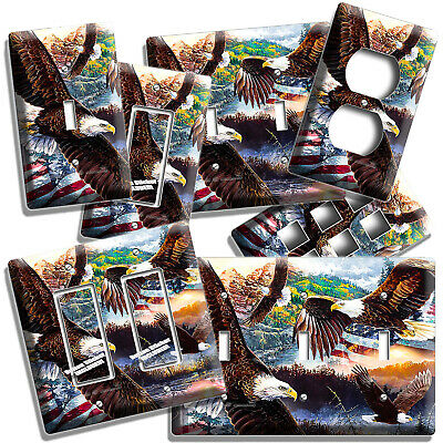 Bald Eagle Flag American Outdoors Light Switch Outlet Cover Wall Plate Art Decor