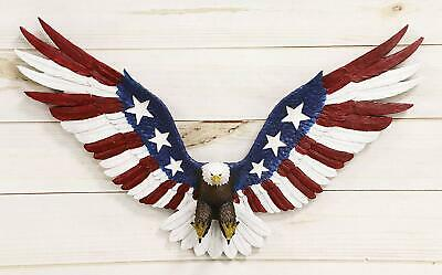 Freedom Glory Large Flying American Flag Tattoo Bald Eagle Wall Plaque Decor