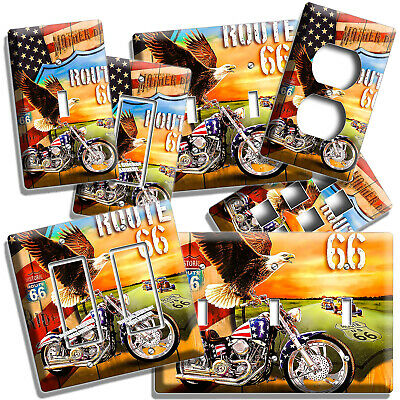 American Eagle Chopper Bike Light Switch Outlet Cover Wall Plate Garage Hd Decor
