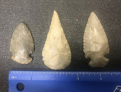 3) Very Old Flint Stone Arrowhead Points Artifact from KY/TN Loc#L27