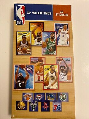32 NBA Valentine Day Classroom Sharing Cards With Stickers Stephen Curry