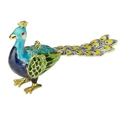 Blue Bejeweled Peacock Cloisonne Metal Christmas Tree Ornament Bird New
