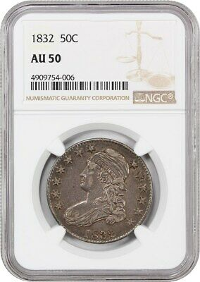 1832 50c NGC AU50 (Small Letters) Nice Type Coin - Bust Half Dollar