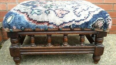 Vintage Wooden Foot Kneeling Stool Turned Legs For Recovering
