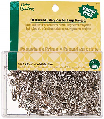 """50 Curved Safety Pins 1 1//16/"""" long Nickel Plated Steel from Dritz #7215 Size 1"""