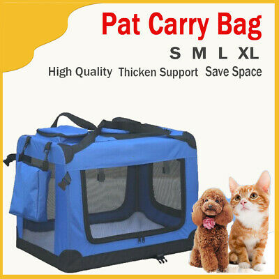 Pet Dog Cat Puppy Portable Travel Carry Carrier Tote Cage Bag Crates Kennel Blue
