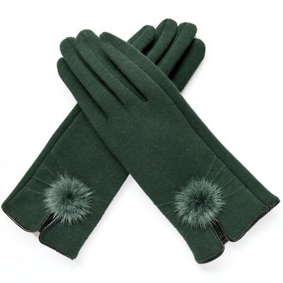 Women Mittens Gloves Winter Mink Ball Wool Fashion Opening Design Ladies Elegant