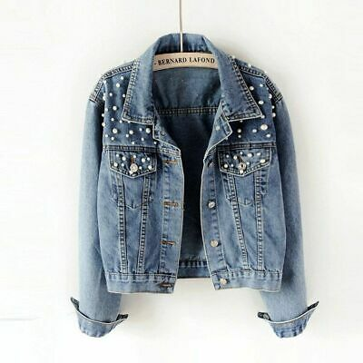 Denim Jacket Vintage Pearl Beading Short Women Long Sleeve Casual Jeans Coat New