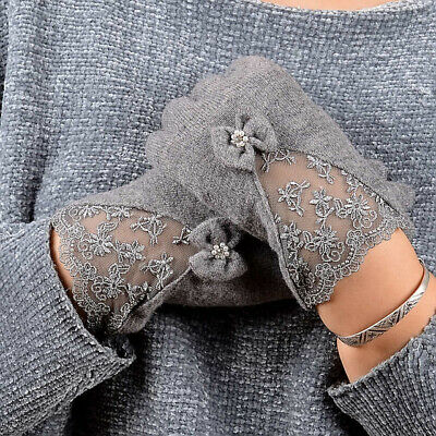 Women Lace Embroidered Wool Gloves New Winter Thick Ladies Bowknot Ladies Mitten