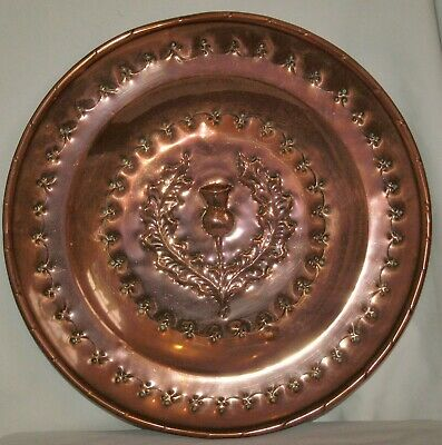 SCOTTISH ARTS & CRAFTS COPPER WALL PLAQUE / CHARGER 12 inch diameter