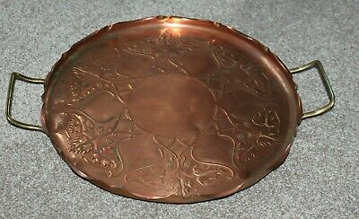 Art Nouveau/Arts and Crafts footed copper tray, brass handles, J. Sankey & Son