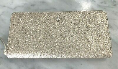 Kate Spade Burgess Ct Slim Continental Zip Around Clutch Wallet - Gold  $158 New