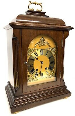Antique French Large Mahogany Mantel / Bracket Clock Striking On A Gong