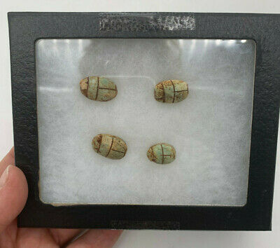 Carved Egyptian Scarab Bead Ancient Relic Artifact Engraved Stone 4pc & case