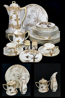 ~ RARE ~ 28 Pc Antique Estate Japanese Hand Painted Gold Moriage Birds & Bamboo