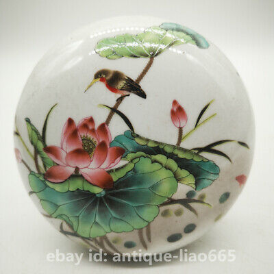 "4.3"" Collect Chinese Famille-rose Porcelain Lotus Flower Leaf Bird Round Ink Box"