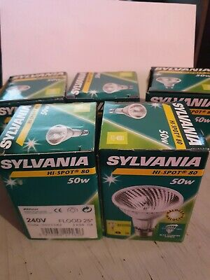 5x Sylvania Hi-Spot 80 halogen 5W 240V flood 25° 21162 New In Box