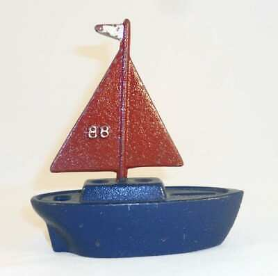 1988 SBCCA Painted Cast Iron Red & Blue Sailboat Still Penny Bank Original Paint