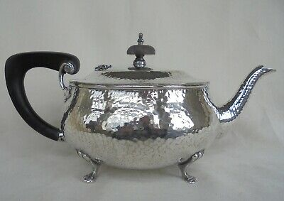 Arts and Crafts Silver Plated Teapot with Hammered Finish J B Chatterley & Sons
