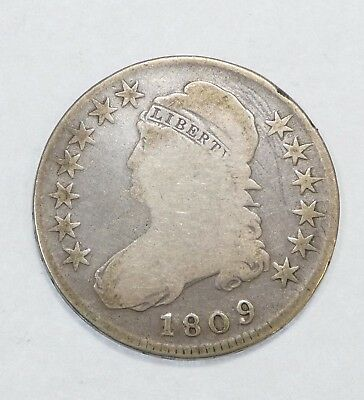 1809 Capped Bust/Lettered Edge Half Dollar GOOD Silver 50c
