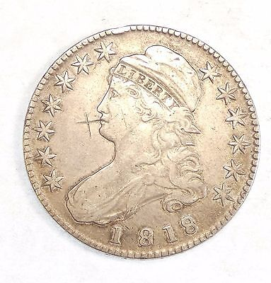 """BARGAIN 1818/7 SMALL """"8"""" Capped Bust/Lettered Edge Half Dollar VF Silver 50c"""