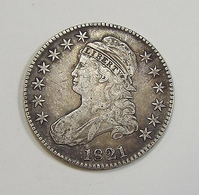 1821 Capped Bust/Lettered Edge Half Dollar VERY FINE/EXTRA FINE Silver 50-Cents
