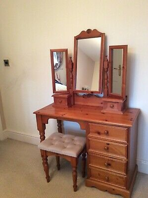 Antique pine bedroom furniture - Wardrobe, drawers, cabinet and dressing table