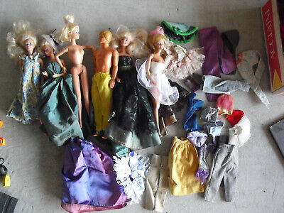 Lot of 6 Vintage Barbie Ken and Friends Dolls in Clothes and More Clothes