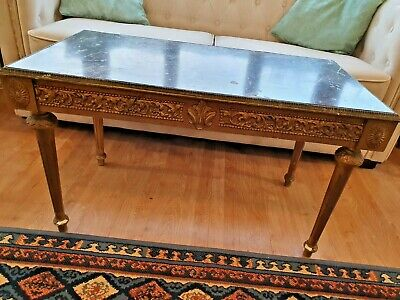 FRENCH COFFEE TABLE Carved Wood Ormolu Louis XVI Style GOLD Rococo XV Room