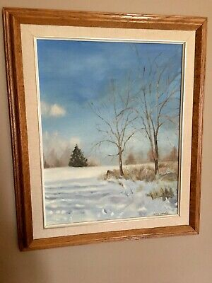 Original Art Winter Landscape Scenery Oil painting Framed Oak Wood Gina Lemelin