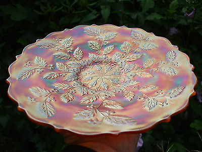 "Carnival Glass.Fenton Flat 9 1/2 "" Marigold Holly Plate.Great Iridescence.VGC"