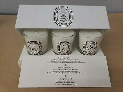 Baies Figuier NEW /& Sealed /& Roses Diptyque Mini Candle Set 7.2oz
